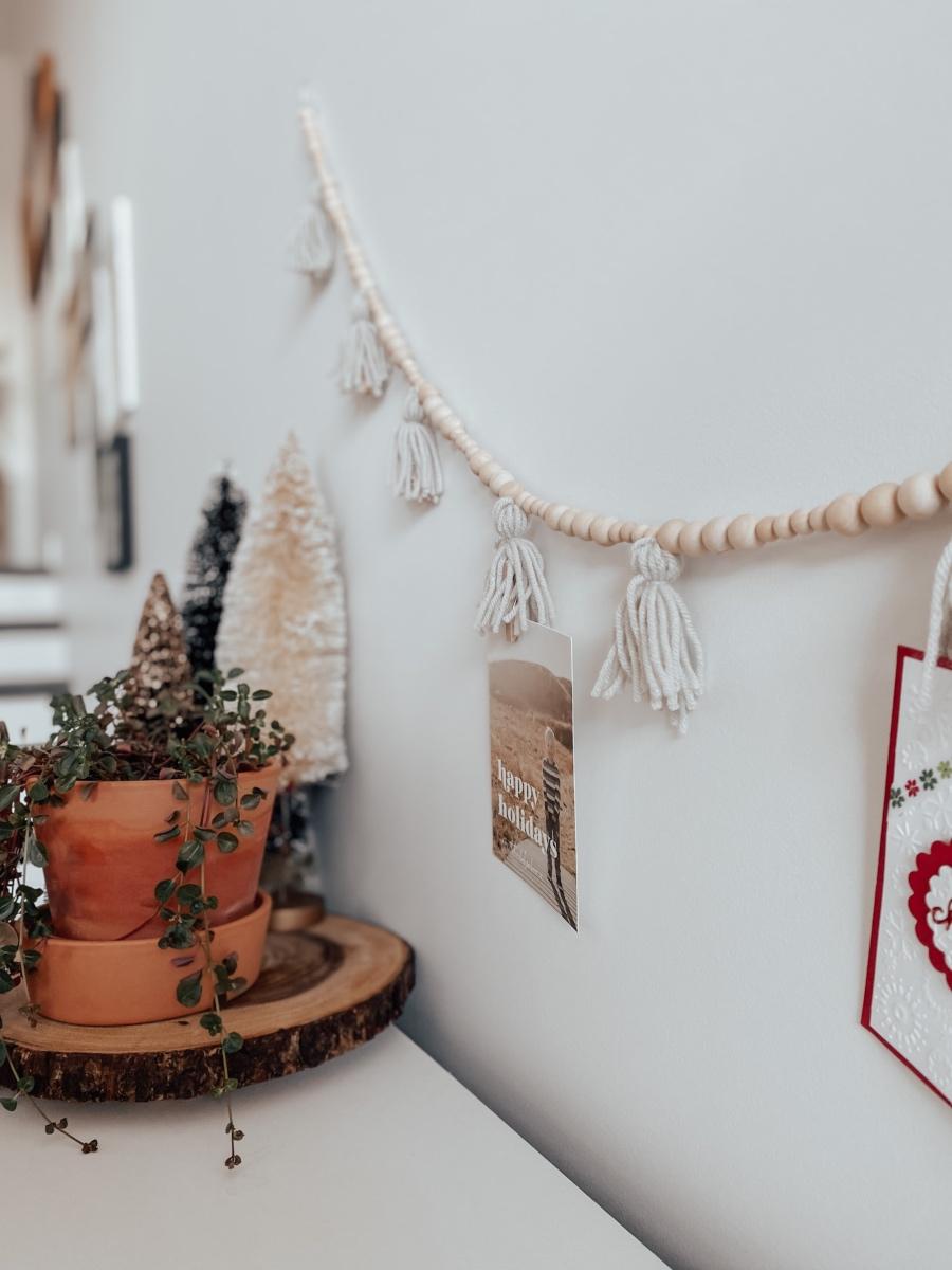 Tassel Wood Bead Garland Card Holder The Blush Home